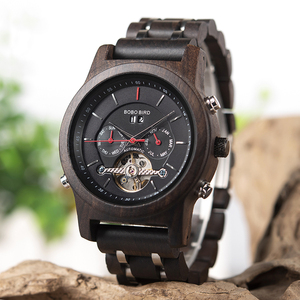 Image 2 - BOBO BIRD Men Watch Mechanical Wristwatches Date Display Luxury Black Wooden Watches relogio masculino Wood Watch Boxes C Q27
