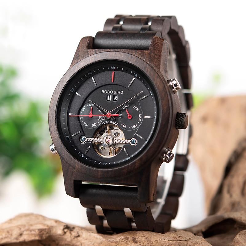 BOBO BIRD hommes montre montres mécaniques affichage de la Date montres de luxe en bois noir relogio masculino-boîtes de montre en bois C-Q27 - 2