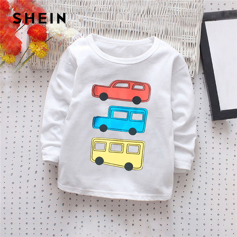 SHEIN Kiddie Toddler Boys White Cartoon Car Print Casual T-Shirt Kids Tops 2019 Spring Korean Long Sleeve Cute Tees Boys Clothes basik kids long sleeve t shirt white
