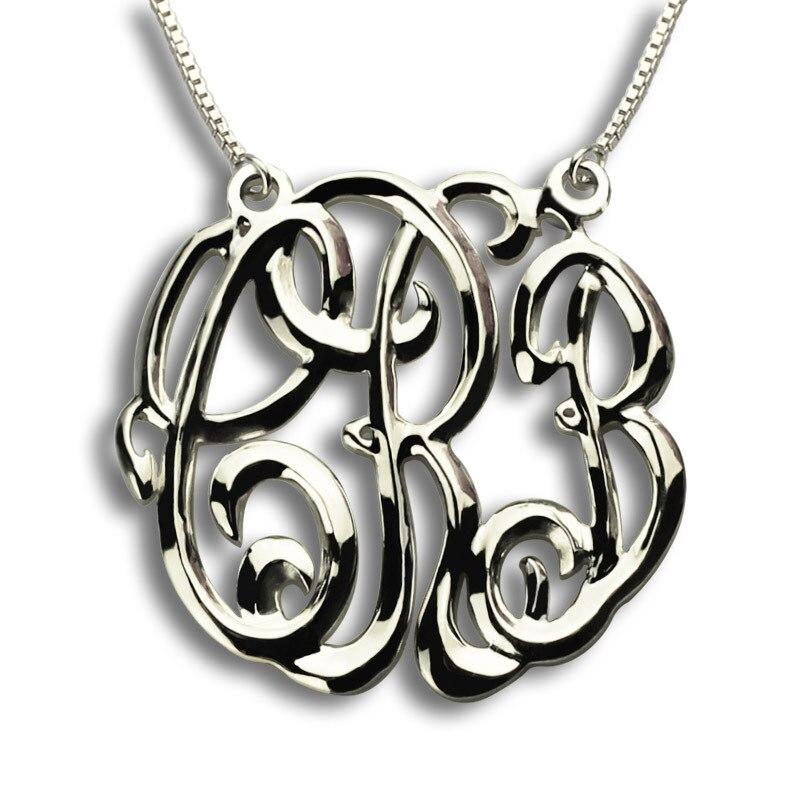 AILIN Personnalisé Monogramme Collier En Trois Dimensions Nom Collier 3 Initiales Collier en 925 En Argent Sterling Nom Bijoux
