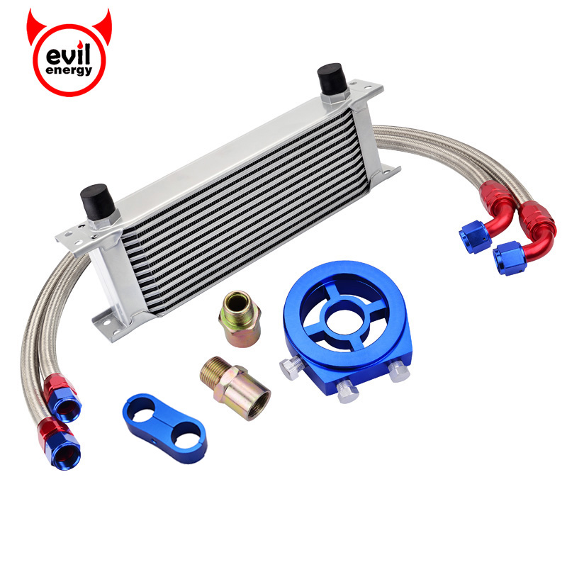 evil energy 13Row AN10 Engine Oil Cooler Kit Oil Adapter Filter Swivel Fuel Oil Hose Line