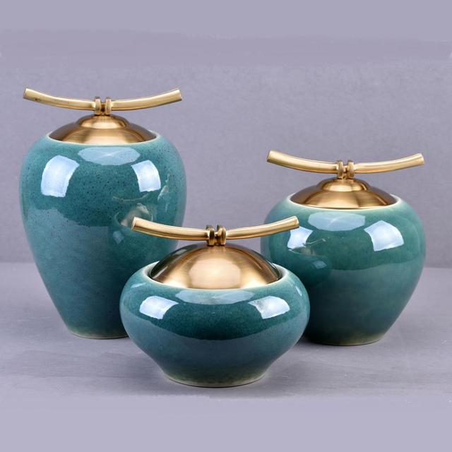 New Chinese Zen ceramic pure copper ornaments living room TV cabinet entrance crafts home model room soft decorations