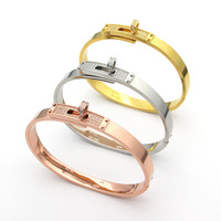 Hot Brand Stainless Steel Jewelry For Women Rose Gold Full Stone T Bangle Jewelry Silver Bracelet Classic Top Quality