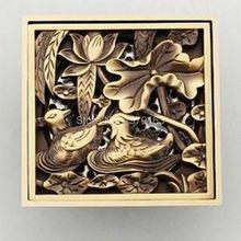 Античная латунь Резные цветок двойной птица Животные узор Ванная комната утечка Душ 4 «квадрат трапных отходов Тёрки ahr028
