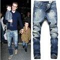 Новое прибытие Мужская мода дизайнер бренда тощие хлопок синий тонкие джинсы брюки Бекхэм разорвал велосипед джинсы Плюс размер 38 40 42 m517