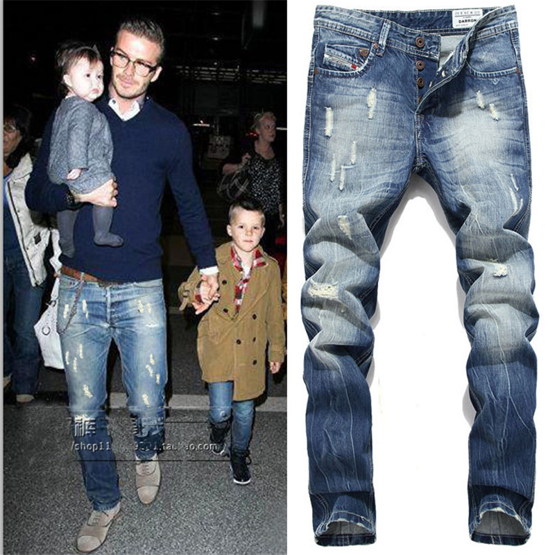 New Arrival Mens Fashion Designer Cotton Blue Slim Fit Jeans Pants Beckham Jeans Plus Size 38 40 42 M517 In Jeans From Men S Clothing Accessories
