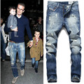 New arrival Mens fashion designer cotton blue slim fit jeans pants Beckham jeans Plus size 38 40 42 m517