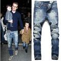 Nuevo Mens de la llegada del diseñador de moda de algodón azul slim fit jeans pantalones Beckham jeans tallas grandes 38 40 42 m517