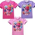 Trolls de niñas Niños de la Camiseta Del Verano Camisa de la Colmena de Los Niños de Manga Corta Raglán Camisetas Chica Top Teen Monya