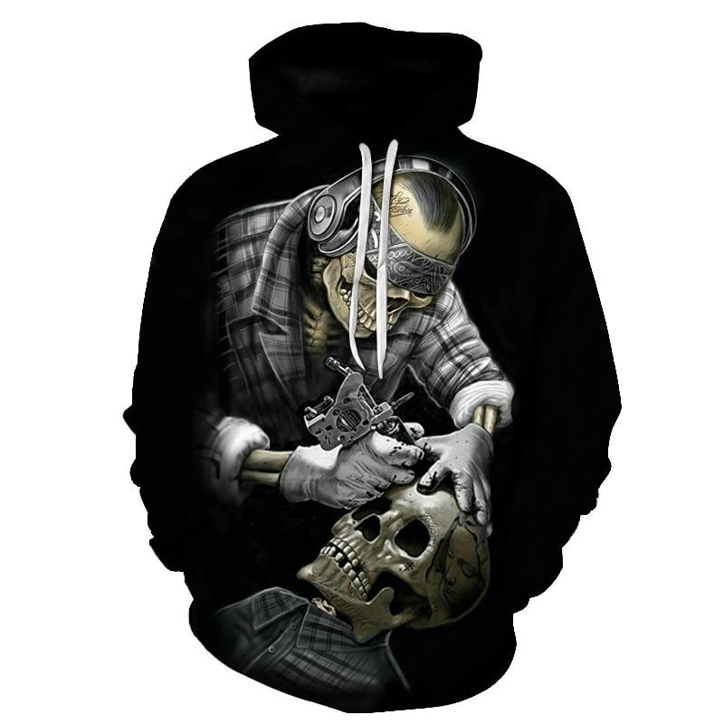 Skull Printed Hoodies Sweatshirt 3D Hoodie Men Women Tracksuit Funny Sweatshirt Pullover Coat