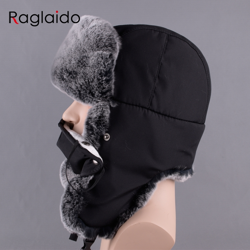c38025d8eba Raglaido Winter Real Furs russia Bomber Hats for men with Ear flaps Adjustable  Ushanka Snow Rabbit Hat 56 59cm LQ11236-in Bomber Hats from Apparel ...