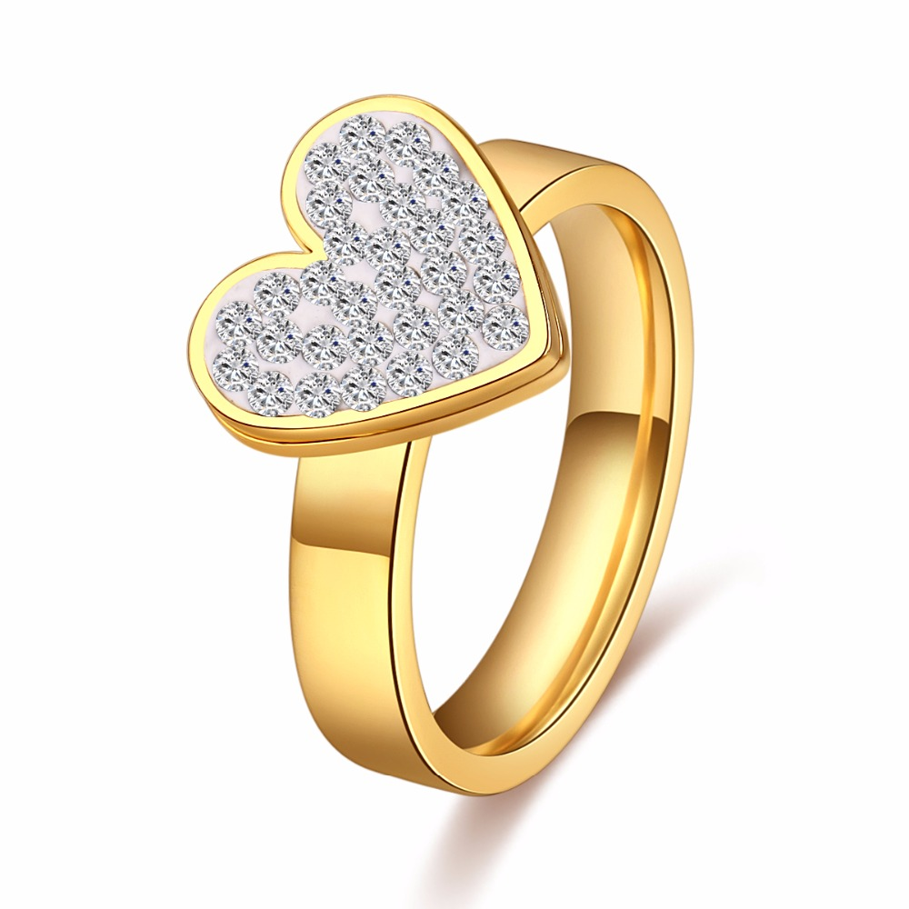 CACANA High Quality Unique Design Heart Crystal Ring
