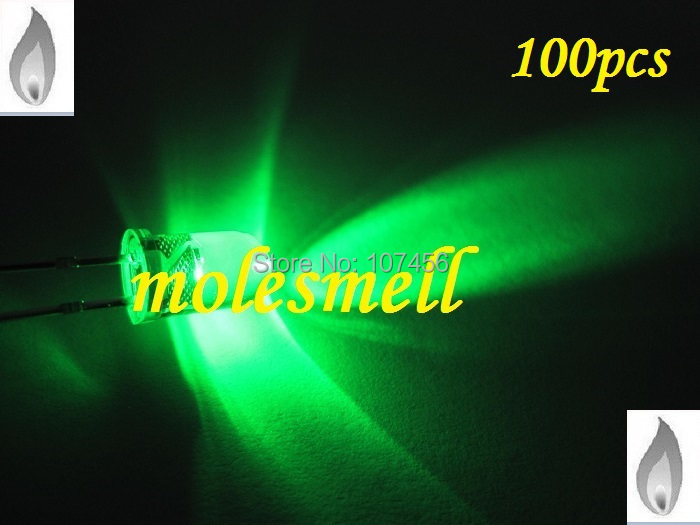 100pcs 5mm green Candle Light Flicker Ultra Bright Flickering green LED candle green Leds water ckear lens led