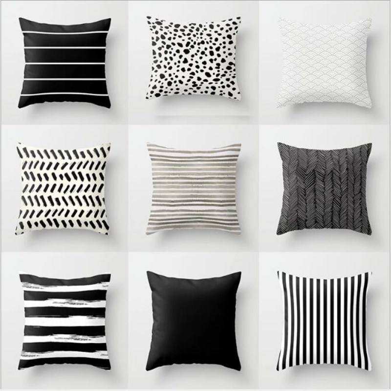 >45*45 Nordic Stripes Geometric <font><b>Cushions</b></font> <font><b>Cover</b></font> Double-sided Print Polyester Pillowcase Sofa Car <font><b>Decorative</b></font> Pillow Case Home Decor