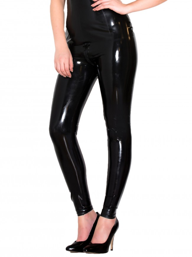 Skinny Latex Jeans in Black 0.4mm Thickness Latex Tights Leggings With Thru Zip