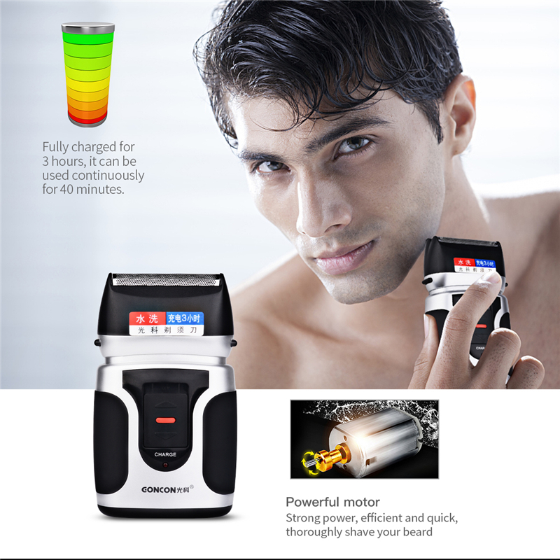 Reciprocating Double Blade Electric Shaver Washable Recharges