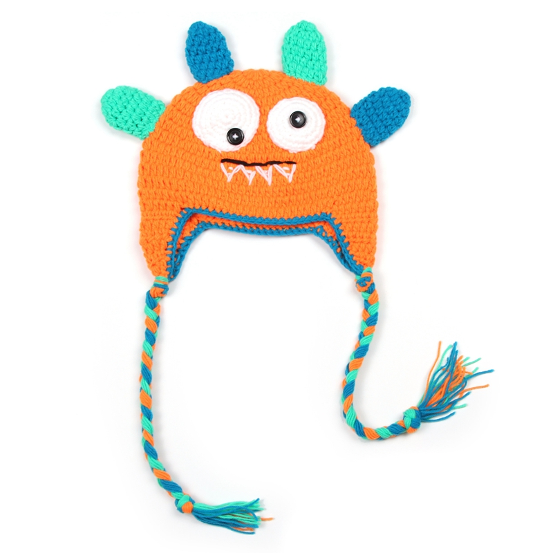 638229d596f Newborn Photography Props Baby Crochet Knitwear Monster Kids Cute Hats  Infant Knitted Caps Toddler Christening-in Hats   Caps from Mother   Kids  on ...