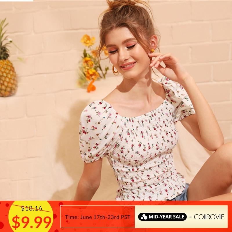 COLROVIE White Square Neck Ditsy Floral Print Shirred Frill Boho Top Women   Blouse     Shirt   2019 Summer Korean Fashion Girly   Blouses