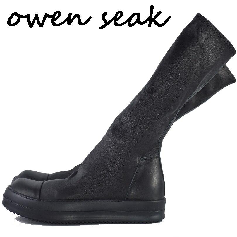Owen Seak Women Shoes Knee High Boots Sheepskin Leather Luxury Trainers Winter Sneaker Casual Flats Shoes