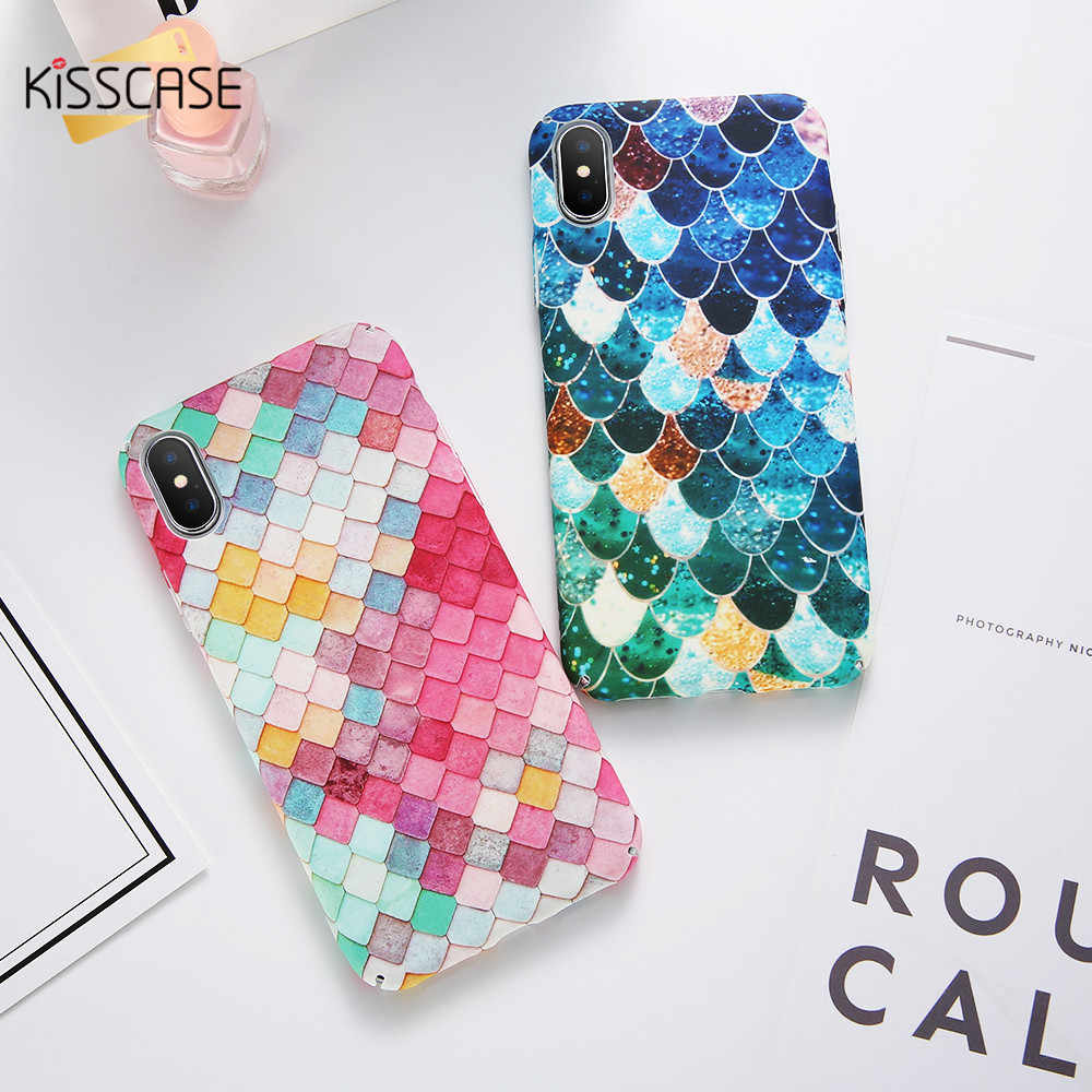 Fundas de sirena luminosa KISSCASE para iPhone 6 funda 7 8 X XS Mermaid 3D Fish S8 funda S10 A5 2017 Fundas