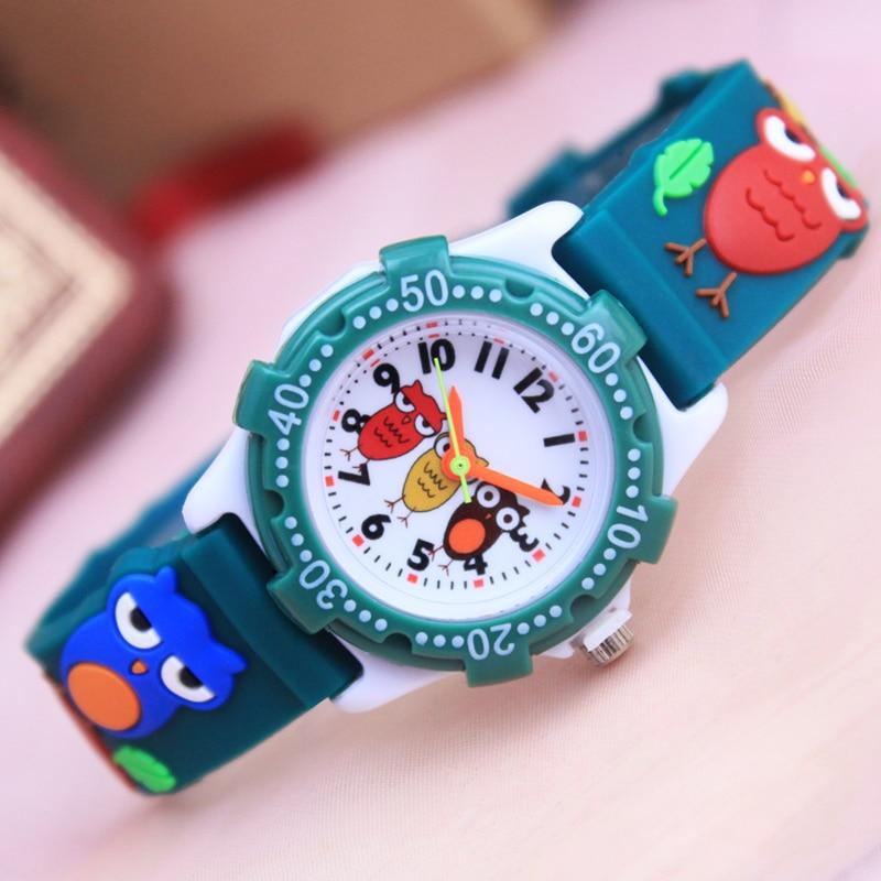 Summer Children Boys Quartz Silicone Watches Fashion Sports 3D Cartoon Owl Animal Kids Students Birthday Gifts Waterproof Clock