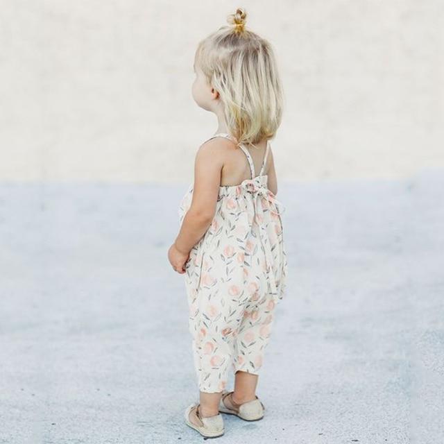 Новые летние для маленьких девочек Цветочный принт Комбинезоны для девочек Комбинезон Корректирующие боди для женщин мягкая Обувь для девочек на подтяжках sunsuits одежда Обувь для девочек Комбинезоны для женщин