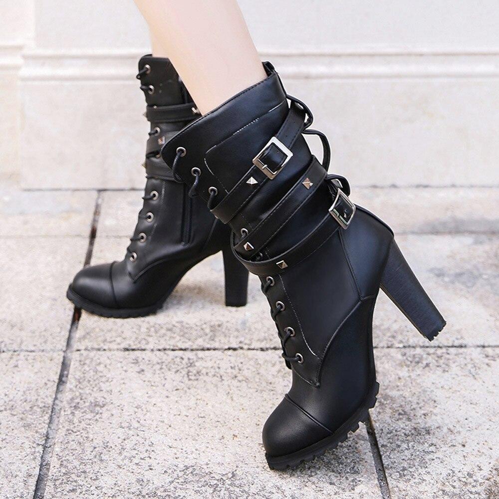 Noir Cuir khaki Bottes Femme D'hiver Belle Femmes En Talons Occasionnels Vogue Chaussures Hauts À Moto Boucle Femelle kiXuOPZ