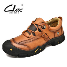 CLAX Mens Work Shoes Genuine Leather male Ankle Boots man Casual Footwear Leather Shoe Soft chaussure homme Plus Size spring autumn 2018 breathable thick platform man shoes genuine leather mens footwear white casual male shoes plus size us 6 9 5