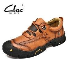 CLAX męskie obuwie robocze prawdziwej skóry mężczyzna botki man Casual obuwie skórzane buty miękkie chaussure homme Plus Size
