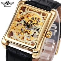 WINNER Men Luxury Mechanical Wrist Watch Leather Strap Printed Hollowed Dial Rectangular Case