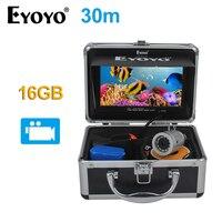 EYOYO Original 7 Full Silver Fish Finder HD 1000TVL 30M Underwater Fishing Camera White LED Video Recording DVR 16GB Fish Cam