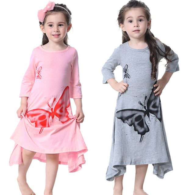 7e624cecbb00 Summer New Kids Girls Dresses Butterfly Printed Long Sleeve Maxi Long Dress  Kids Cotton Clothes For Girl Toddler Clothing Spring