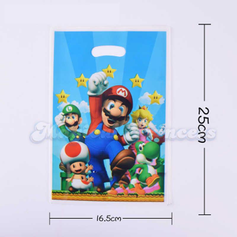 Супер Марио тема украшения Пластик подарки сумки счастливая предродительная вечеринка для мальчиков для вечеринки по случаю Дня рождения одноразовые тарелки чашки 30 шт.