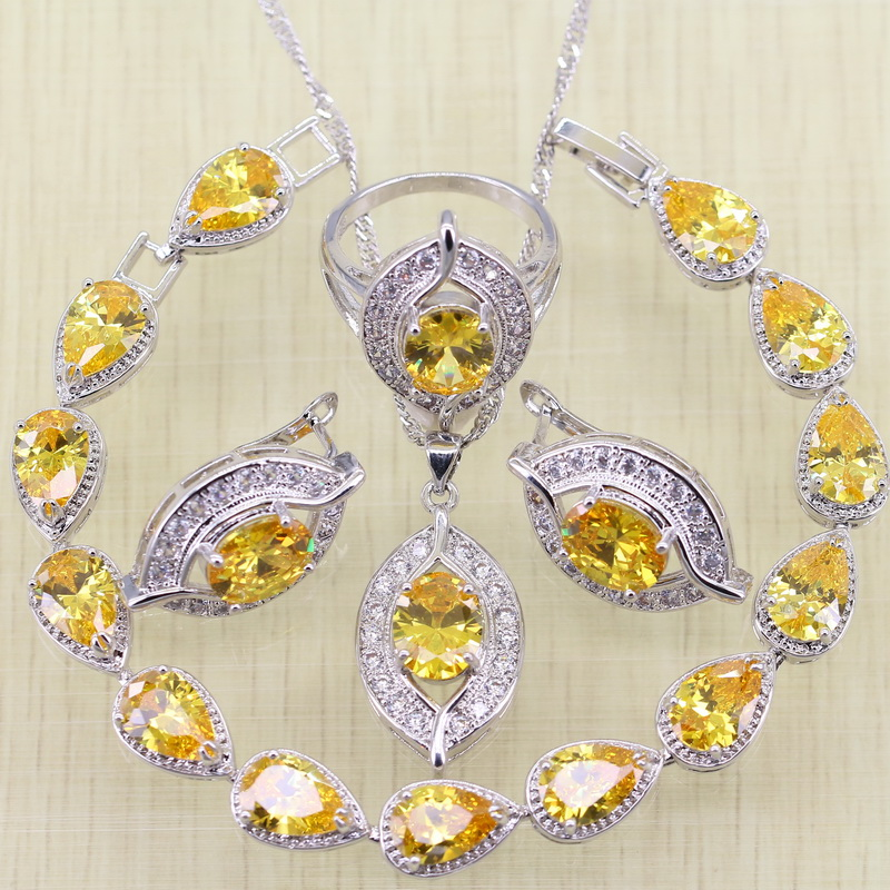 Reginababy Eyes Silver color Yellow Stone Bracelets Jewelry Sets For Women Wedding EarringsRingNecklacePendant