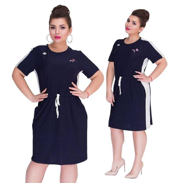 2018 летнее платье большого размера Женская одежда с коротким рукавом прямое Повседневное платье большое женское платье 5XL 6XL большое платье Vestidos
