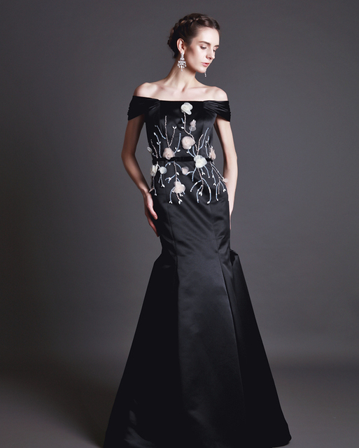 Classic Black Boat Neck Prom Dress Mermaid Style Evening Gowns With ...
