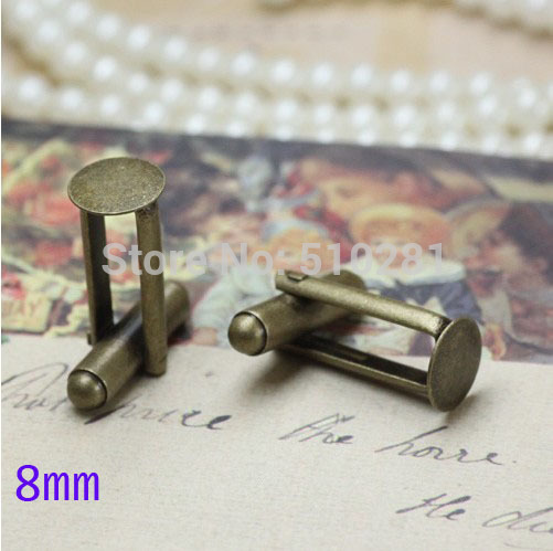 Antique Bronze plated French Cuff Links With 8mm Round Flat Blank LK-3001