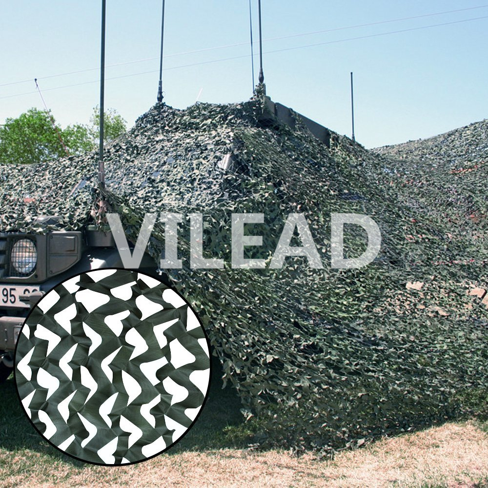 VILEAD 3M*5M Filet Camo Netting Pure Green Camouflage Netting For Hunting Sniper Theme Party Decoration Hunting Camping Balcony vilead 4m 4m sea blue military camo