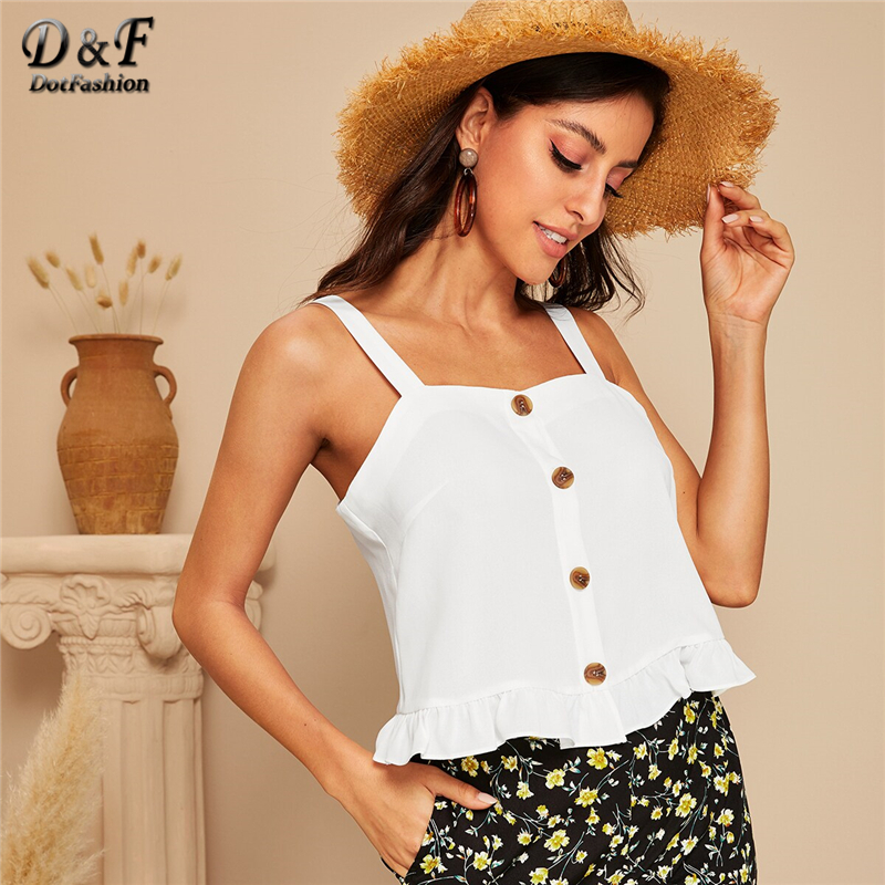 Dotfashion White Buttoned Front Ruffle Hem Crop   Tank     Top   2019 Summer   Tops   For Women Boho Vest Ladies Young Sweetheart Camisole
