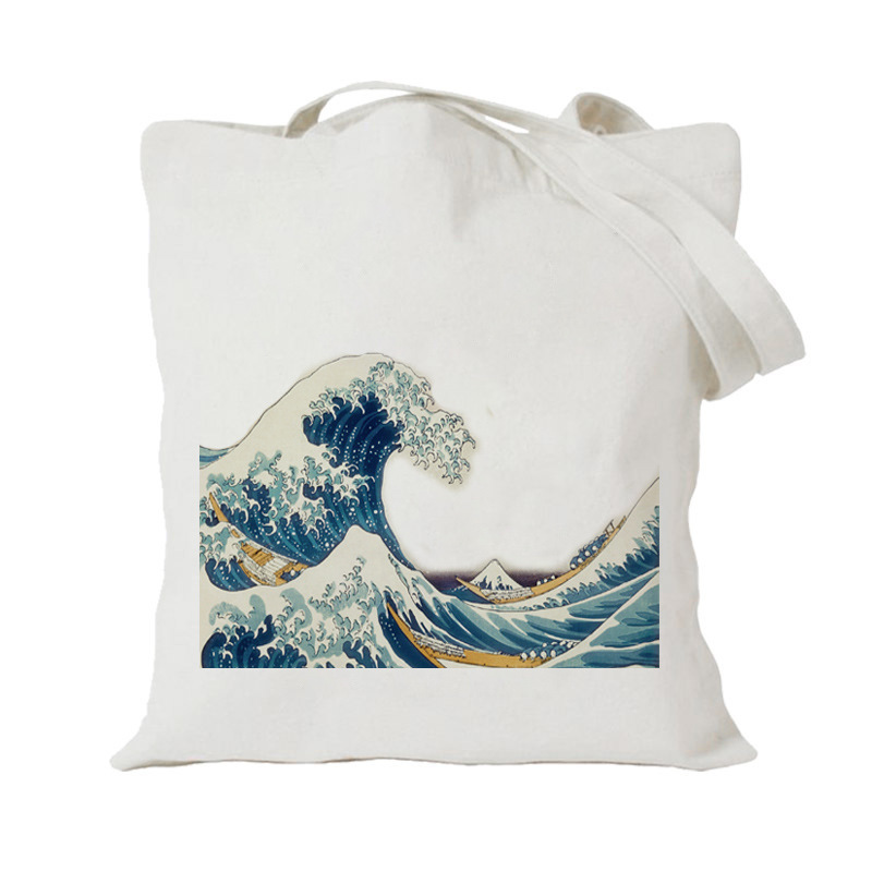 2019 Foldable Women Canvas Shopping Bag Reusable Cloth Tote Bags Travel Storage Handbag Shoulder Bag Female Shopper