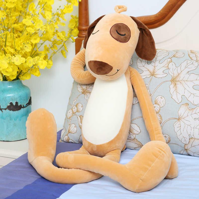Besar 120 cm kartun kuning kaki anjing anjing mainan mewah panjang bawah katun lembut boneka bantal tidur hadiah Natal s2540