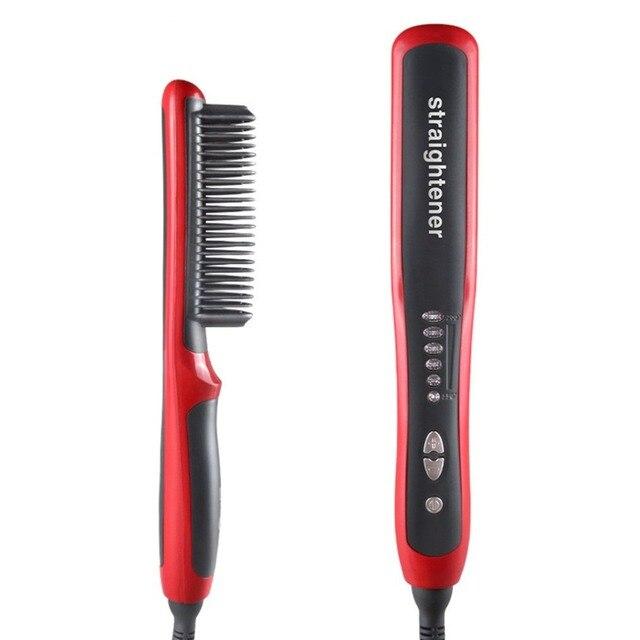 שיער מחליק עמיד חשמלי ישר שיער מסרק מברשת LCD מחומם קרמיקה שיער זקן מיישר מברשת האיחוד האירופי Plug