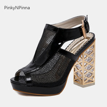 2019 new sexy Rome sandals female peep toe buckle platform cutouts super high metal square chunky heels gladiator shoes woman стоимость
