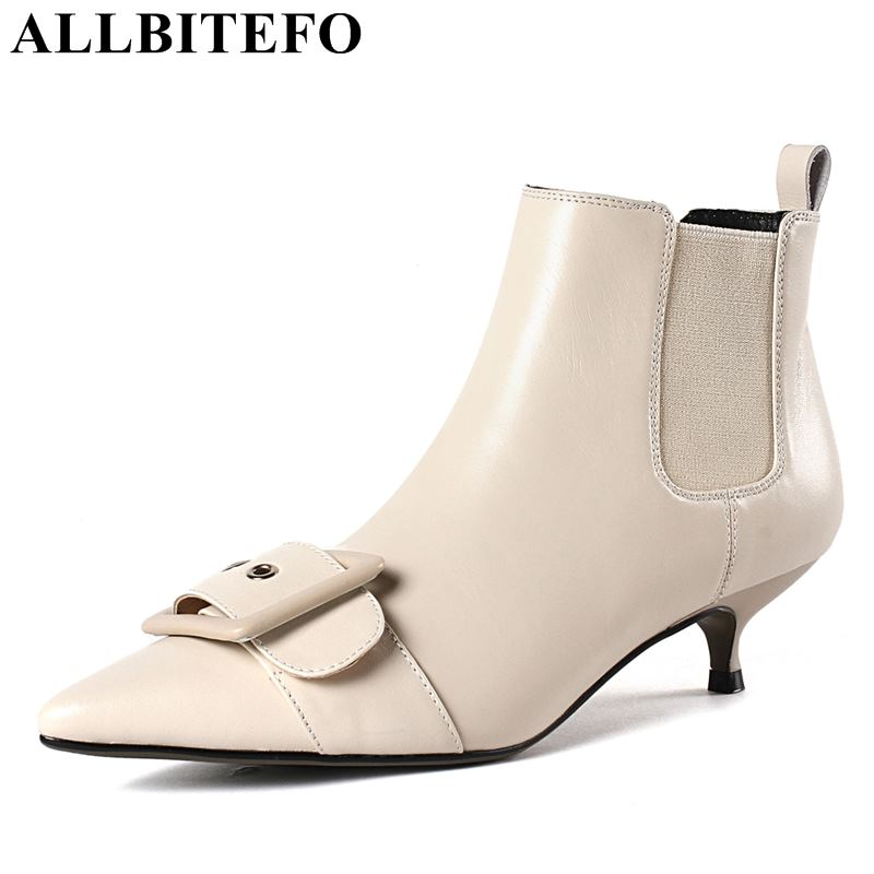 ALLBITEFO size 33 43 genuine leather pointed toe high heels ankle boots women winter women boots