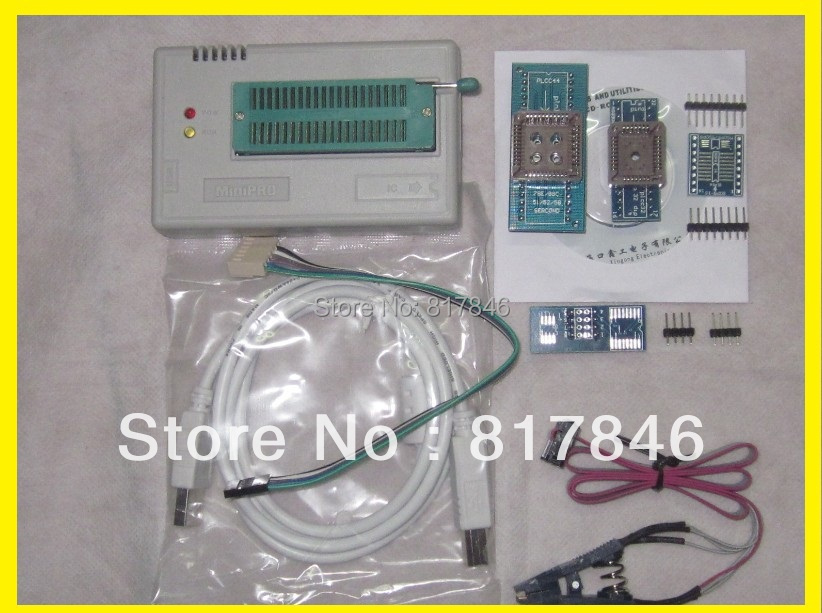 Fichiers russes V8.33 TL866II Plus TL866A haute qualité MiniPro nand flash BIOS USB programmeur universel + 4 adaptateurs + IC SOIC8 Clip