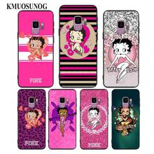 For Samsung Galaxy M10 M20 M30 Note 9 8 S10 S9 S8 Plus Lite S7 S6 Edge Black Silicone Phone Case Pink Betty Boop Style