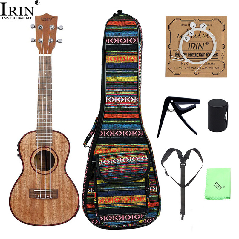 IRIN 24 Inch Ukulele 7Pcs In 1 Sapele Wood With LCD EQ 4 Strings Guitar Hawaii Ukulele Acoustic Guitar For Kids Beginners Gifts 39 acoustic classical guitar nylon 6 strings hollow body profissionais wooden guitar sapele wood fingerboard free shipping