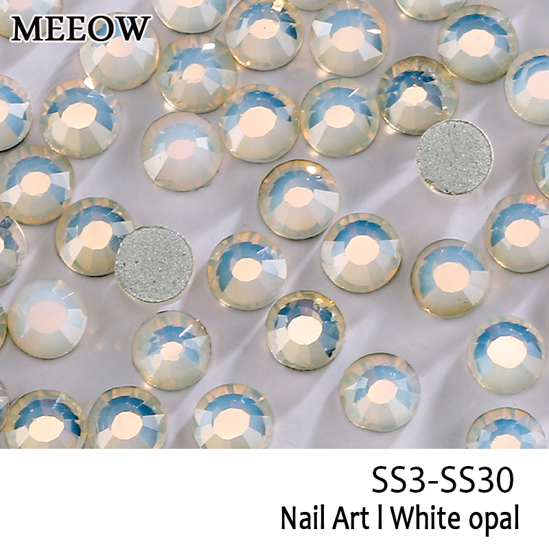 SS3-SS30 White Opal Nail Art Rhinestones With Round Flatback For Nails Art Cell Phone And Wedding Decorations ss3 ss30 jet black ab nail art rhinestones with round flatback for nails art cell phone and wedding decorations