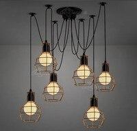 Edison Retro Spider Chandelier Lighting Ceiling Pendant Lamp 6 Arm With Golden Case E27 Base Living