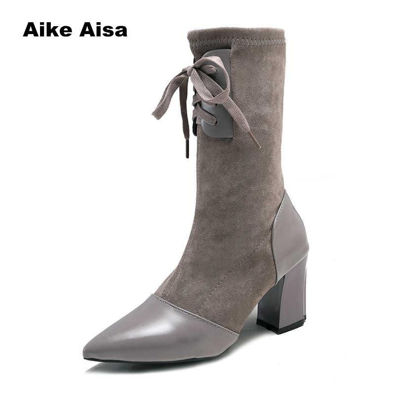 Del Elástico Puntiagudo Piel Invierno Las Tejido 2019 Black gray Calcetín Botas De Tacón Mujer V6 Dedo Alta Zapatos Pie Moda Mujeres Becerro 6Sqz4
